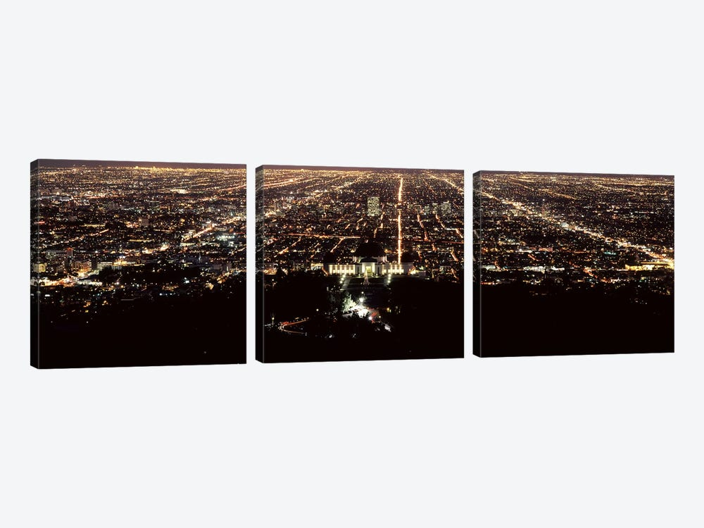 Aerial view of a cityscape, Griffith Park Observatory, Los Angeles, California, USA by Panoramic Images 3-piece Canvas Artwork
