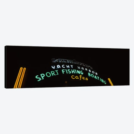 Low angle view of a neon signboard, Santa Monica Pier, Santa Monica, Los Angeles County, California, USA Canvas Print #PIM8285} by Panoramic Images Canvas Artwork