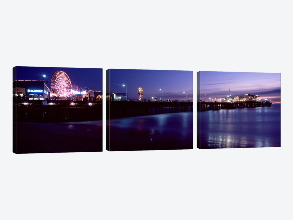 Ferris wheel in an amusement park, Santa Monica Pier, Santa Monica, Los Angeles County, California, USA by Panoramic Images 3-piece Canvas Wall Art