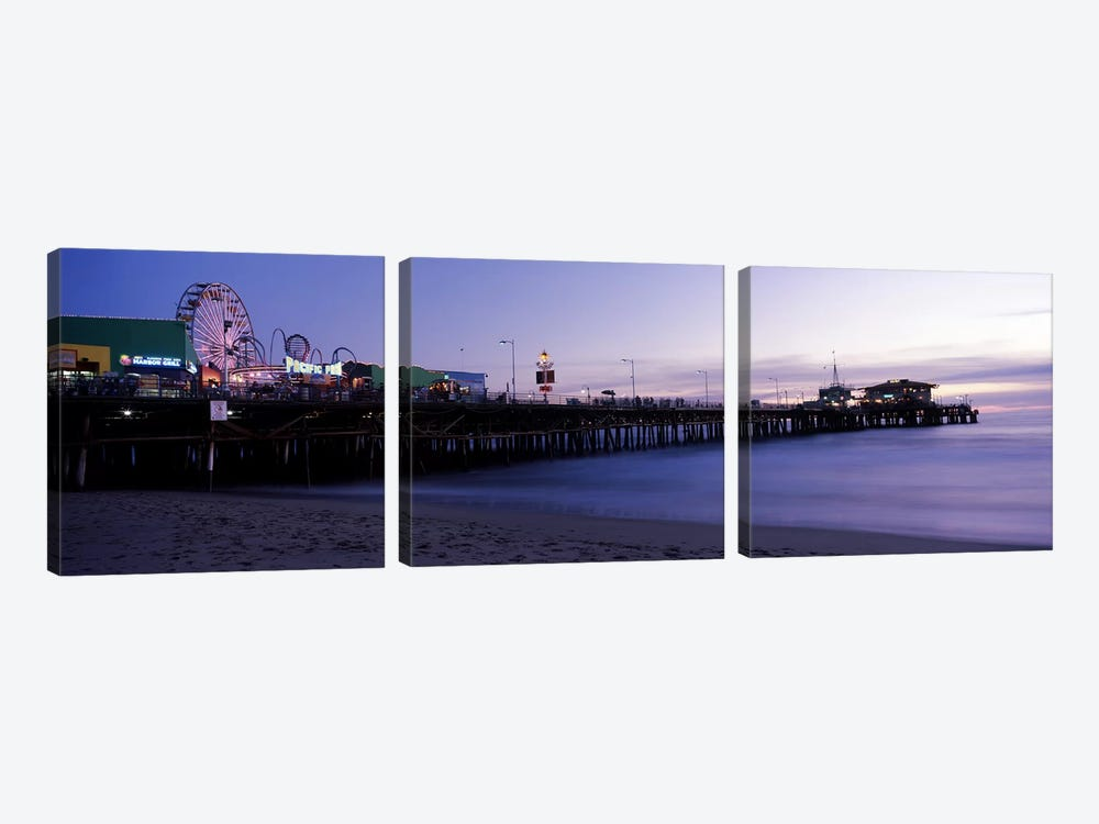 Ferris wheel in an amusement park, Santa Monica Pier, Santa Monica, Los Angeles County, California, USA #2 by Panoramic Images 3-piece Canvas Print