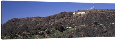 Hollywood sign on a hill, Hollywood Hills, Hollywood, Los Angeles, California, USA Canvas Art Print