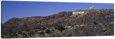 Hollywood sign on a hill, Hollywood Hills, Hollywood, Los Angeles, California, USA Canvas Art Print