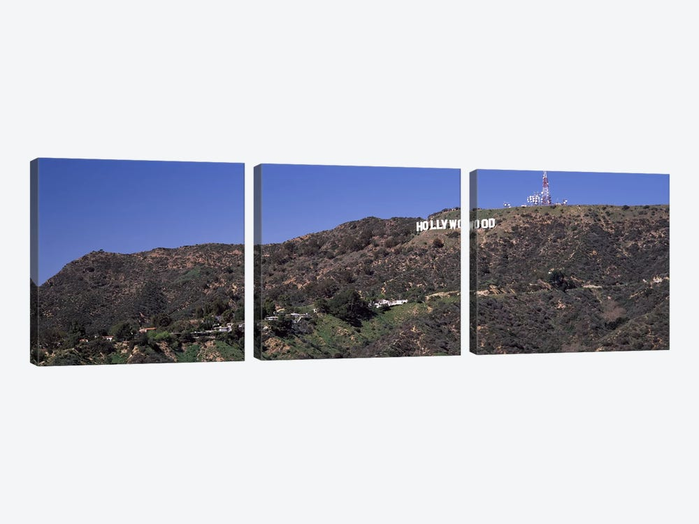Hollywood sign on a hill, Hollywood Hills, Hollywood, Los Angeles, California, USA by Panoramic Images 3-piece Canvas Art