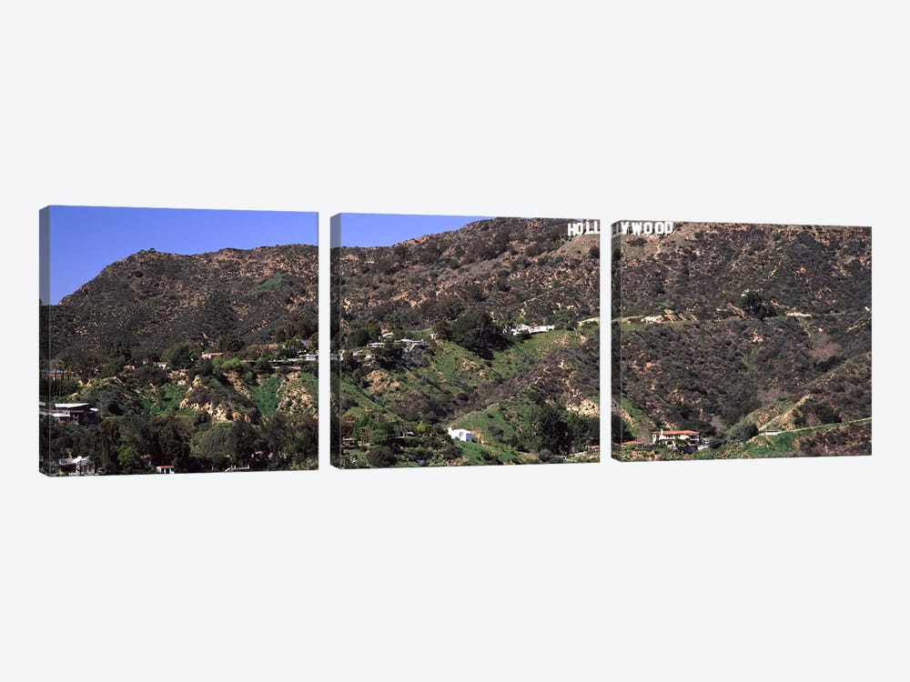 Hollywood sign on a hill, Hollywood Hills, Hollywood, Los Angeles, California, USA #3 by Panoramic Images 3-piece Art Print