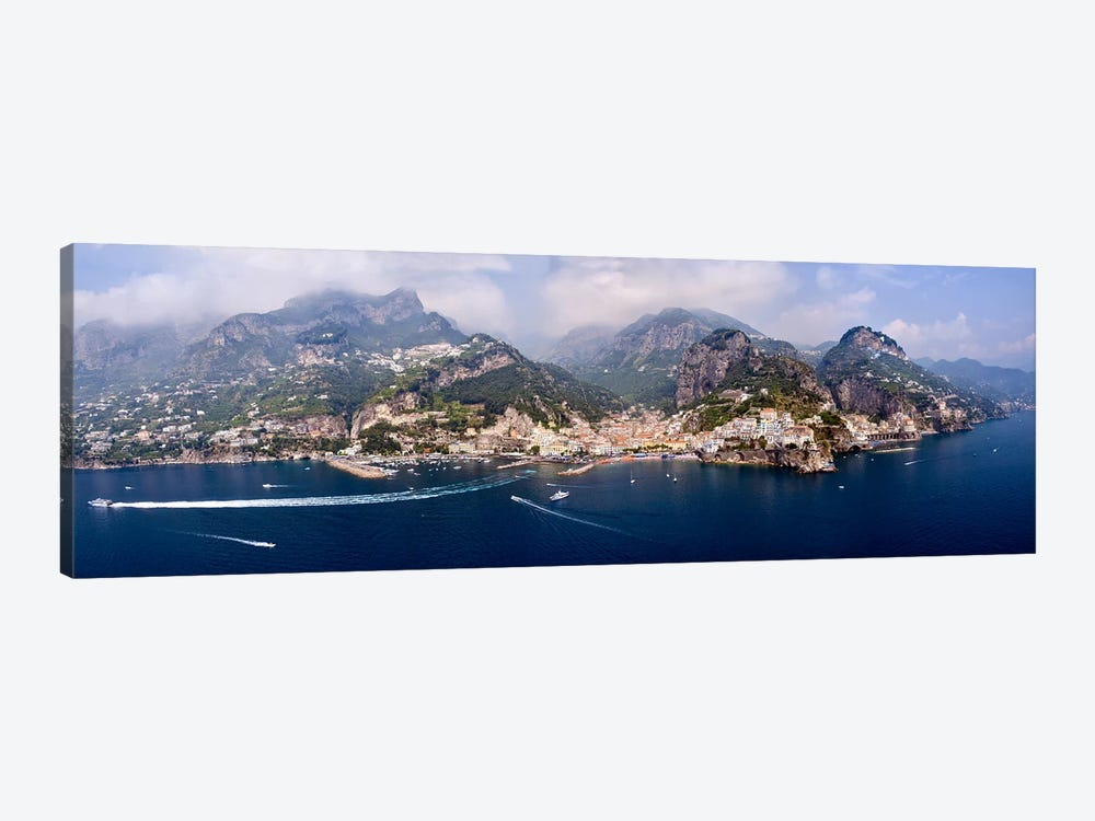 Aerial View Of Amalfi & Atrani, Amalfi Coast, Campania, South Tyrol, Italy by Panoramic Images 1-piece Canvas Artwork