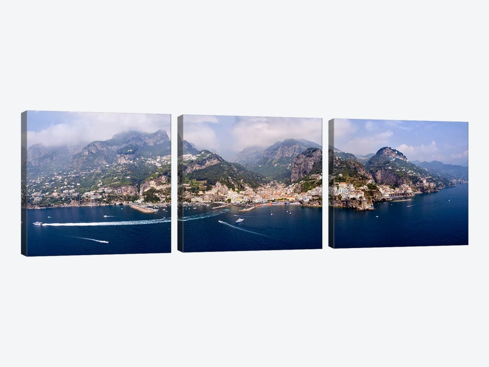 Aerial View Of Amalfi & Atrani, Amalfi Coast, Campania, South Tyrol, Italy by Panoramic Images 3-piece Canvas Art