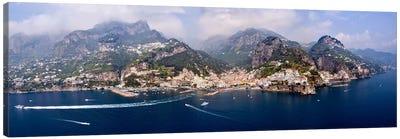Aerial View Of Amalfi & Atrani, Amalfi Coast, Campania, South Tyrol, Italy Canvas Art Print