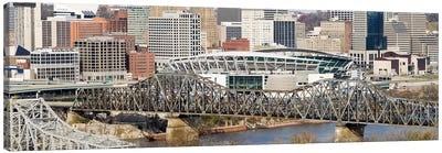 Bridge across a river, Paul Brown Stadium, Cincinnati, Hamilton County, Ohio, USA Canvas Art Print