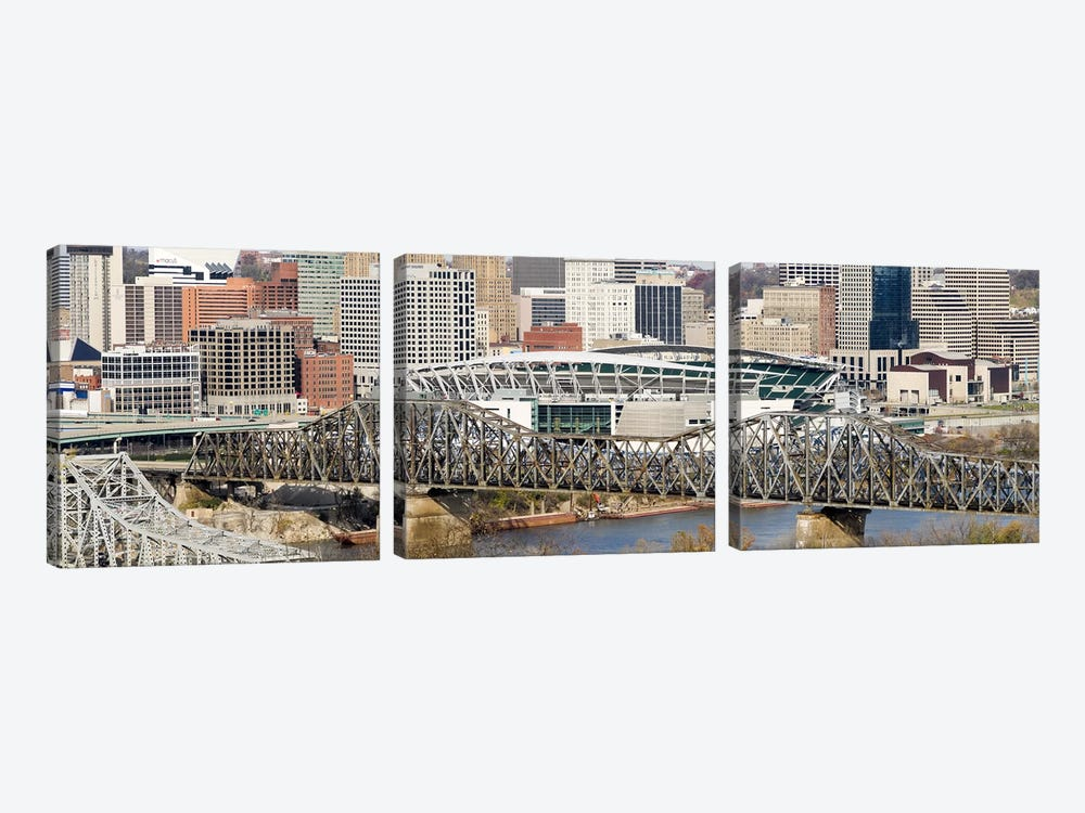 Bridge across a river, Paul Brown Stadium, Cincinnati, Hamilton County, Ohio, USA by Panoramic Images 3-piece Art Print
