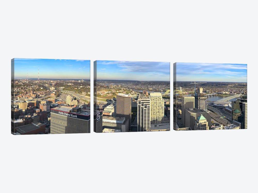 Aerial view of a city, Cincinnati, Hamilton County, Ohio, USA 2010 by Panoramic Images 3-piece Canvas Artwork