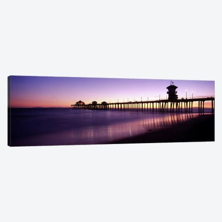 Huntington Beach Pier At Dusk, Huntington Beach, Orange County, California, USA Canvas Print #PIM8307} by Panoramic Images Art Print