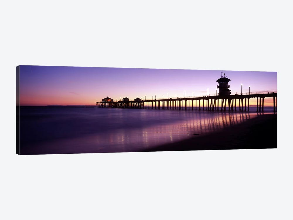 Huntington Beach Pier At Dusk, Huntington Beach, Orange County, California, USA by Panoramic Images 1-piece Canvas Wall Art