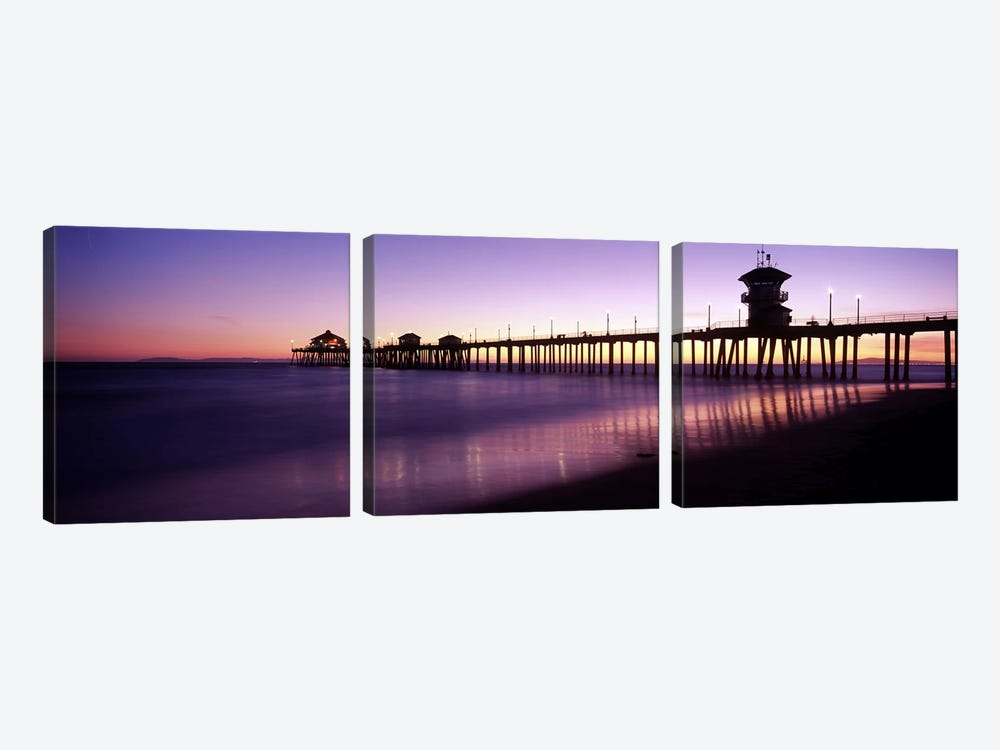 Huntington Beach Pier At Dusk, Huntington Beach, Orange County, California, USA by Panoramic Images 3-piece Canvas Wall Art