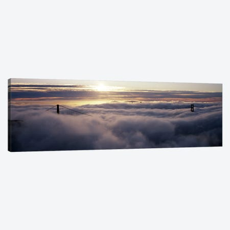 Suspension bridge covered with fog viewed from Hawk Hill, Golden Gate Bridge, San Francisco Bay, San Francisco, California, USA Canvas Print #PIM8320} by Panoramic Images Canvas Artwork