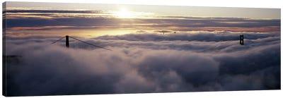Suspension bridge covered with fog viewed from Hawk Hill, Golden Gate Bridge, San Francisco Bay, San Francisco, California, USA Canvas Print #PIM8320
