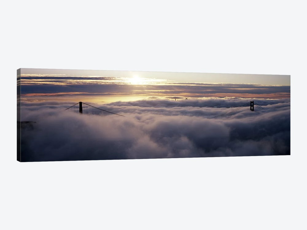 Suspension bridge covered with fog viewed from Hawk Hill, Golden Gate Bridge, San Francisco Bay, San Francisco, California, USA by Panoramic Images 1-piece Canvas Art Print