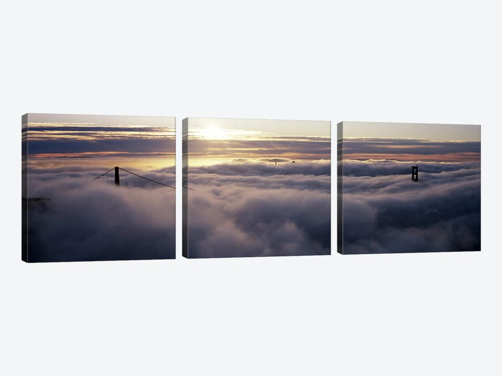 Suspension bridge covered with fog viewed from Hawk Hill, Golden Gate Bridge, San Francisco Bay, San Francisco, California, USA by Panoramic Images 3-piece Canvas Print