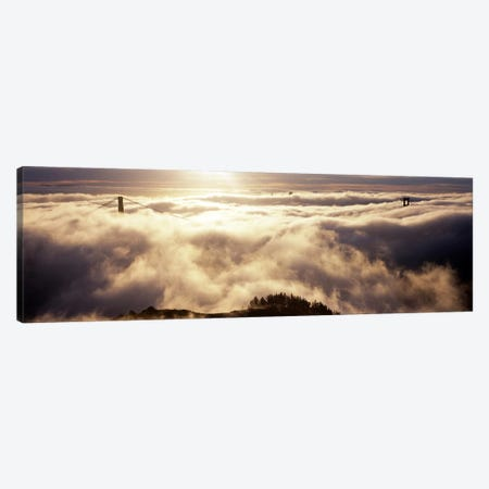 Suspension bridge covered with fog viewed from Hawk Hill, Golden Gate Bridge, San Francisco Bay, San Francisco, California, USA #2 Canvas Print #PIM8321} by Panoramic Images Canvas Artwork