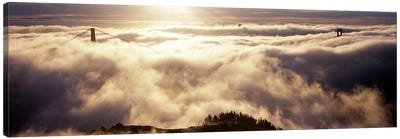 Suspension bridge covered with fog viewed from Hawk Hill, Golden Gate Bridge, San Francisco Bay, San Francisco, California, USA #2 Canvas Print #PIM8321