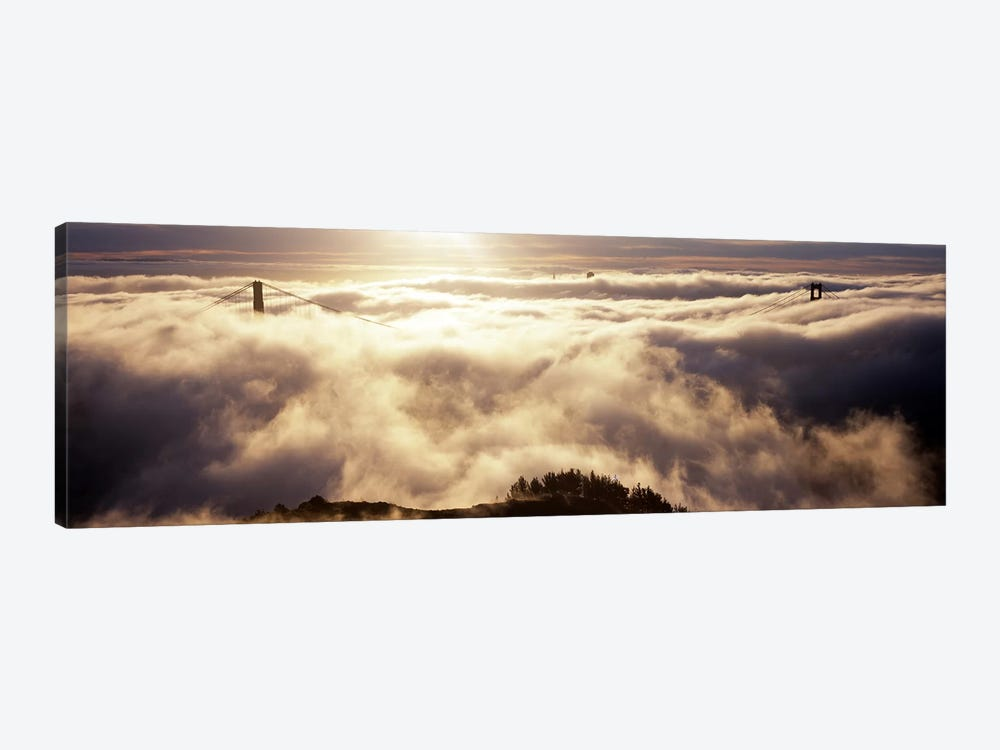 Golden Gate Bridge Surrounded By Fog As Seen From Hawk Hill, San Francisco, California, USA by Panoramic Images 1-piece Canvas Artwork