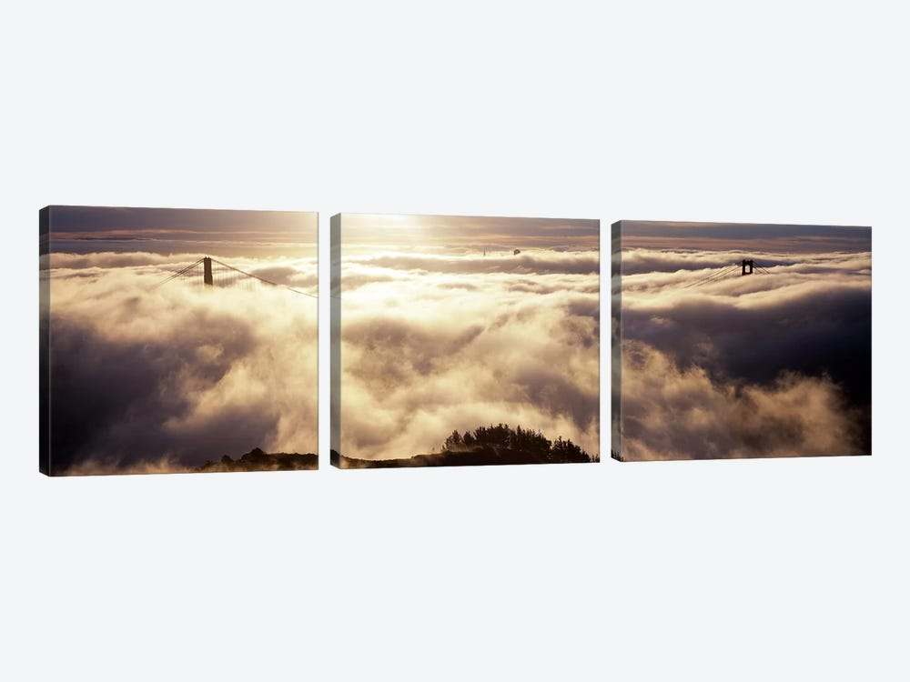 Golden Gate Bridge Surrounded By Fog As Seen From Hawk Hill, San Francisco, California, USA by Panoramic Images 3-piece Canvas Art