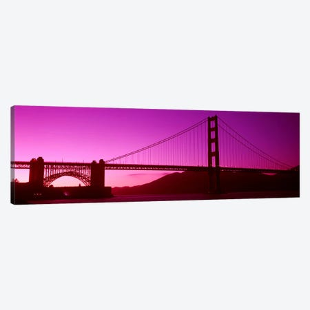 Low angle view of a suspension bridge, Golden Gate Bridge, San Francisco Bay, San Francisco, California, USA Canvas Print #PIM8324} by Panoramic Images Art Print