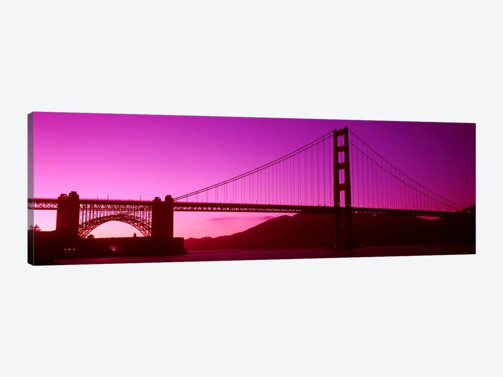 Low angle view of a suspension bridge, Golden Gate Bridge, San Francisco Bay, San Francisco, California, USA by Panoramic Images 1-piece Canvas Art Print