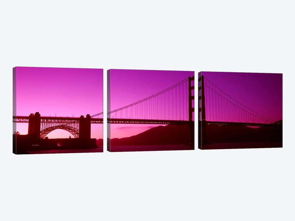 Low angle view of a suspension bridge, Golden Gate Bridge, San Francisco Bay, San Francisco, California, USA by Panoramic Images 3-piece Canvas Print