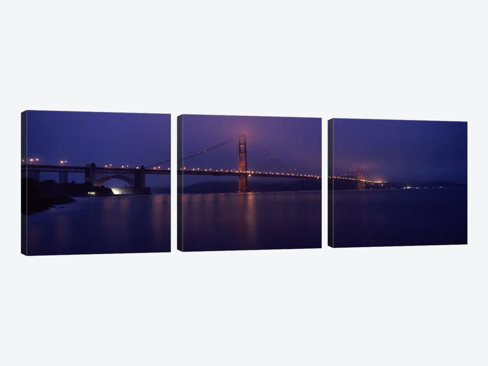 Suspension bridge lit up at dawn viewed from fishing pier, Golden Gate Bridge, San Francisco Bay, San Francisco, California, USA by Panoramic Images 3-piece Canvas Wall Art