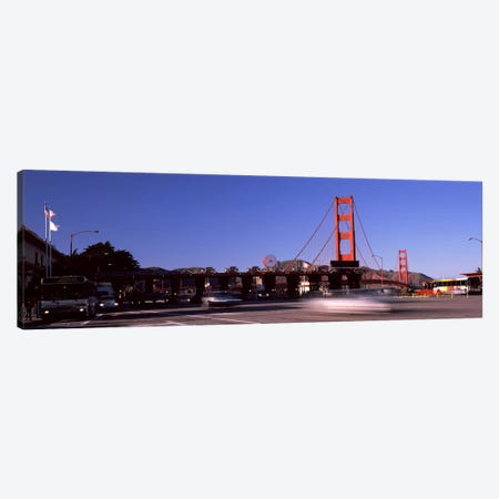 Toll booth with a suspension bridge in the background, Golden Gate Bridge, San Francisco Bay, San Francisco, California, USA Canvas Print #PIM8326} by Panoramic Images Canvas Art Print