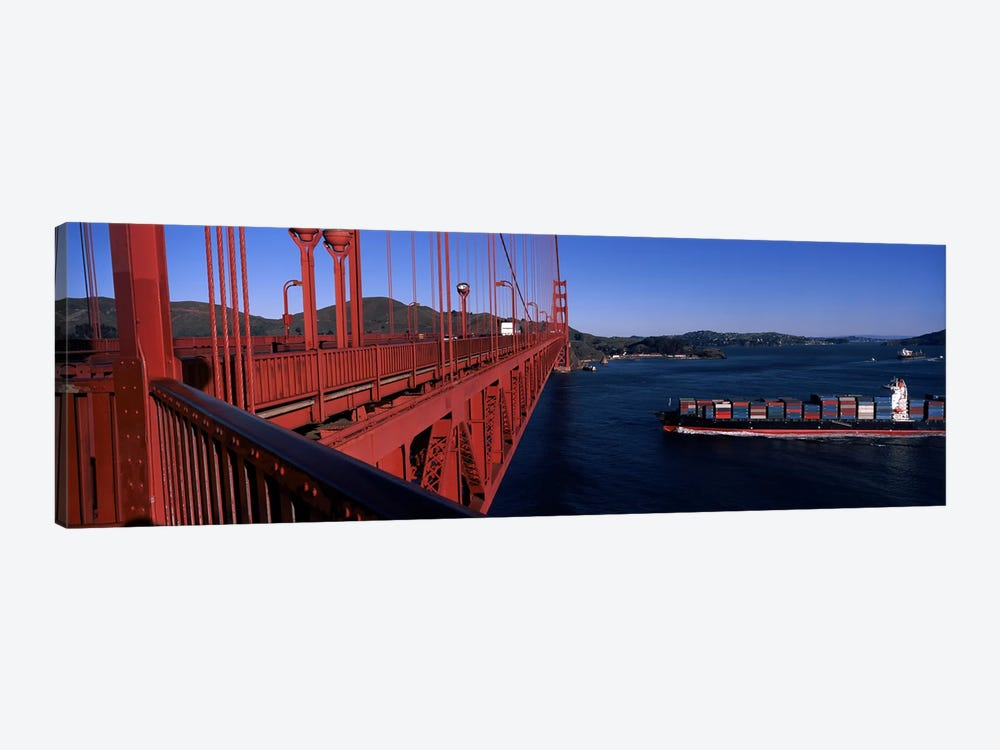 Container ship passing under a suspension bridge, Golden Gate Bridge, San Francisco Bay, San Francisco, California, USA by Panoramic Images 1-piece Canvas Art