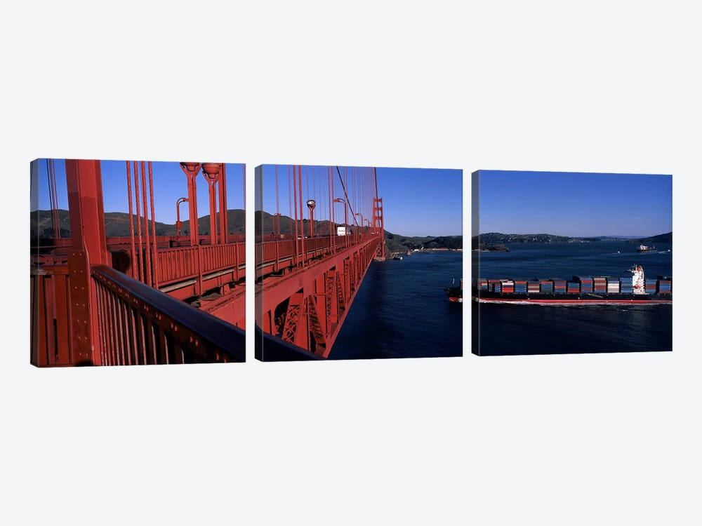 Container ship passing under a suspension bridge, Golden Gate Bridge, San Francisco Bay, San Francisco, California, USA by Panoramic Images 3-piece Canvas Wall Art