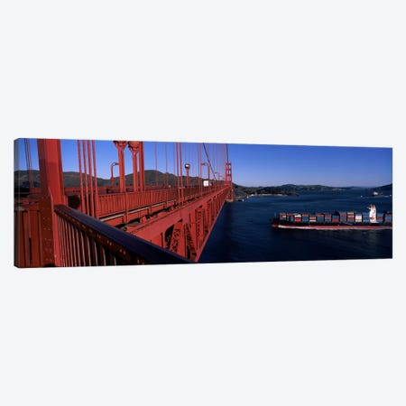 Container ship passing under a suspension bridge, Golden Gate Bridge, San Francisco Bay, San Francisco, California, USA Canvas Print #PIM8327} by Panoramic Images Art Print