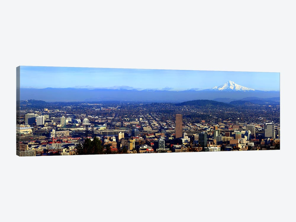 Buildings in a city viewed from Pittock Mansion, Portland, Multnomah County, Oregon, USA 2010 by Panoramic Images 1-piece Canvas Art Print