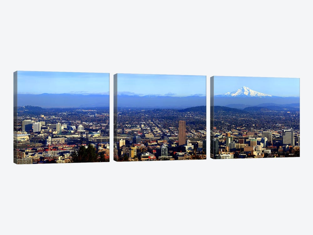 Buildings in a city viewed from Pittock Mansion, Portland, Multnomah County, Oregon, USA 2010 by Panoramic Images 3-piece Canvas Art Print