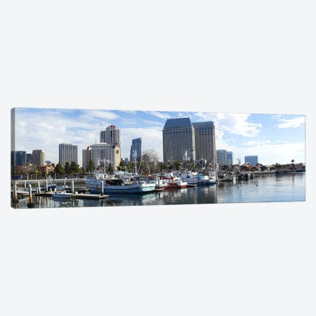 Fishing boats docked at a marina, San Diego, California, USA Canvas Print #PIM8329} by Panoramic Images Canvas Wall Art