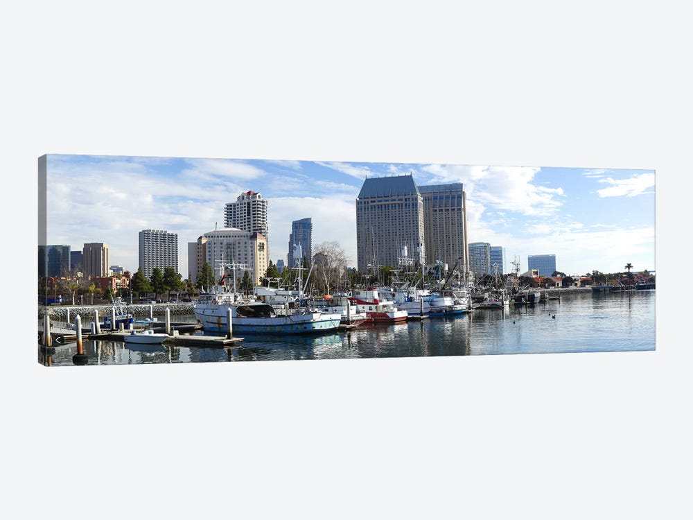 Fishing boats docked at a marina, San Diego, California, USA by Panoramic Images 1-piece Canvas Wall Art