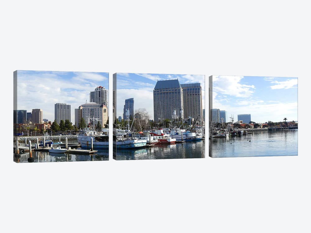 Fishing boats docked at a marina, San Diego, California, USA by Panoramic Images 3-piece Canvas Art