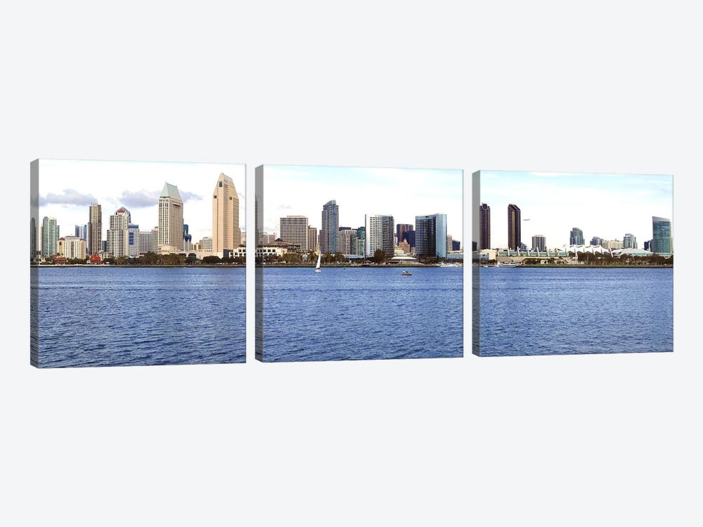 Buildings at the waterfront, view from Coronado Island, San Diego, California, USA 2010 by Panoramic Images 3-piece Canvas Artwork