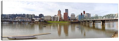 Buildings at the waterfront, Willamette River, Portland, Multnomah County, Oregon, USA 2010 Canvas Art Print