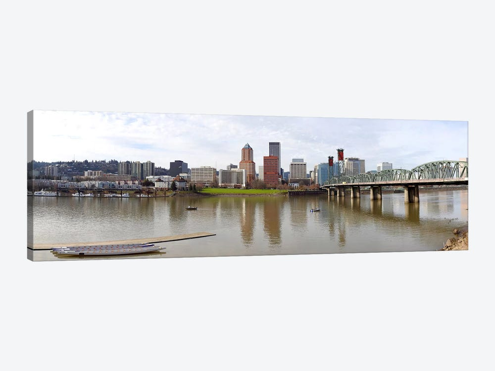 Buildings at the waterfront, Willamette River, Portland, Multnomah County, Oregon, USA 2010 by Panoramic Images 1-piece Canvas Artwork