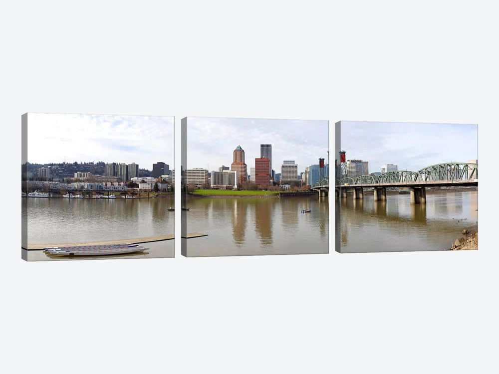 Buildings at the waterfront, Willamette River, Portland, Multnomah County, Oregon, USA 2010 by Panoramic Images 3-piece Canvas Artwork