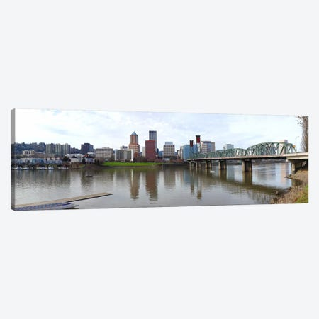 Bridge across a river with city skyline in the background, Willamette River, Portland, Oregon 2010 Canvas Print #PIM8333} by Panoramic Images Canvas Print