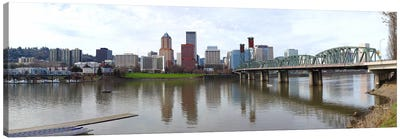 Bridge across a river with city skyline in the background, Willamette River, Portland, Oregon 2010 Canvas Art Print