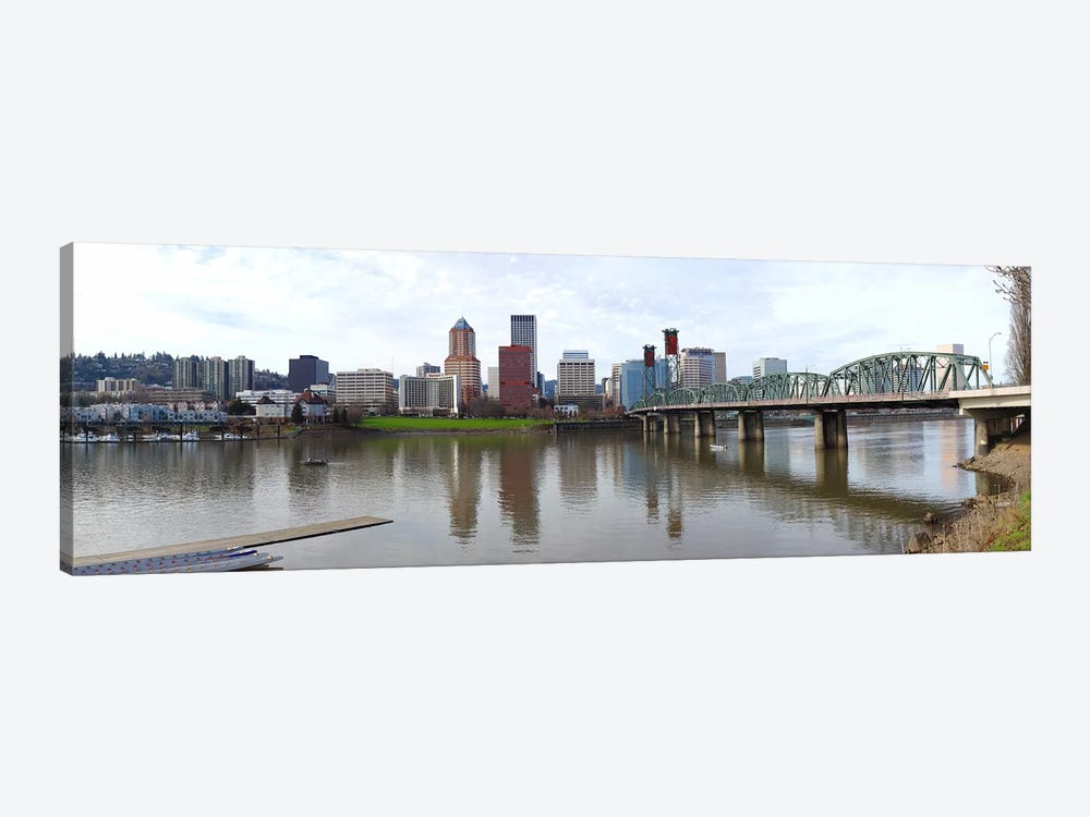 Bridge across a river with city skyline in the background, Willamette River, Portland, Oregon 2010 1-piece Art Print