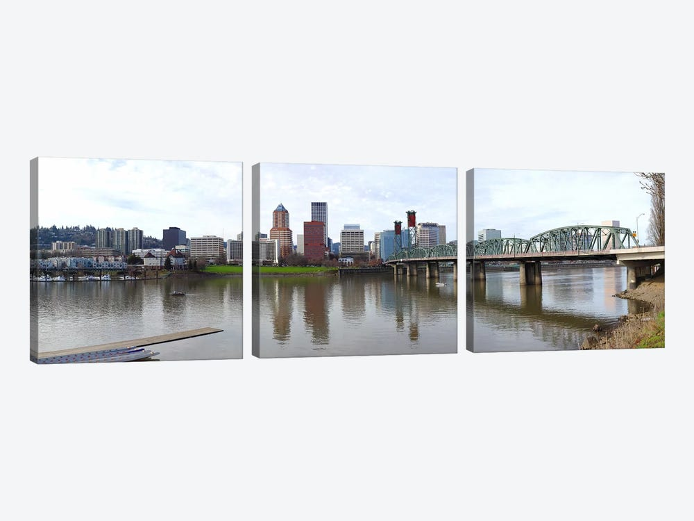 Bridge across a river with city skyline in the background, Willamette River, Portland, Oregon 2010 by Panoramic Images 3-piece Art Print
