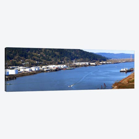 High angle view of a river, Willamette River, Portland, Multnomah County, Oregon, USA Canvas Print #PIM8335} by Panoramic Images Canvas Artwork