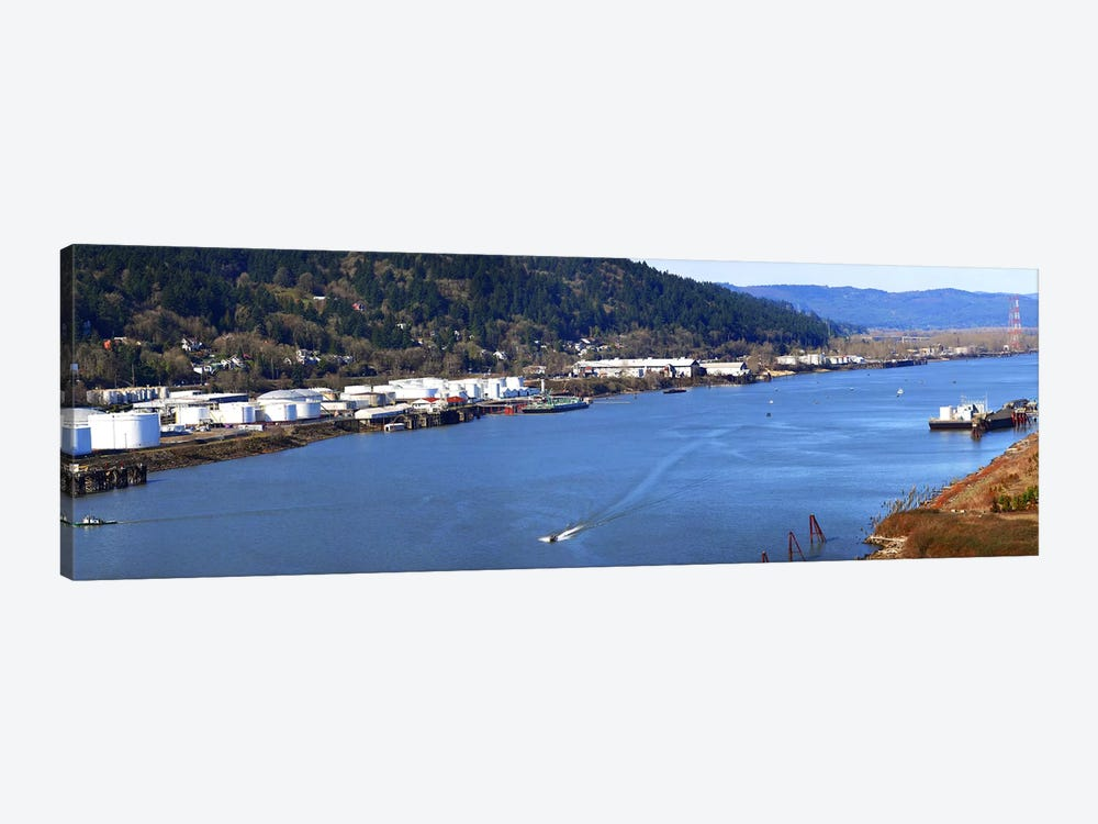 High angle view of a river, Willamette River, Portland, Multnomah County, Oregon, USA by Panoramic Images 1-piece Canvas Print