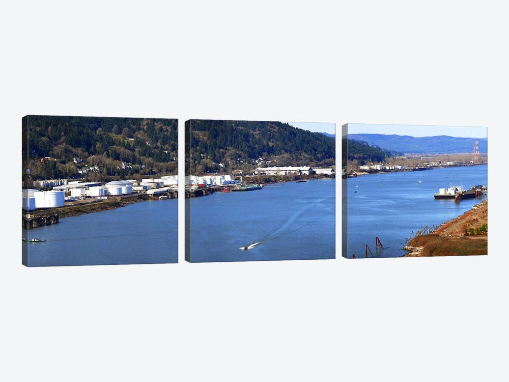 High angle view of a river, Willamette River, Portland, Multnomah County, Oregon, USA by Panoramic Images 3-piece Canvas Print