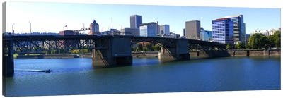 Bridge across a river, Burnside Bridge, Willamette River, Portland, Multnomah County, Oregon, USA 2010 Canvas Art Print